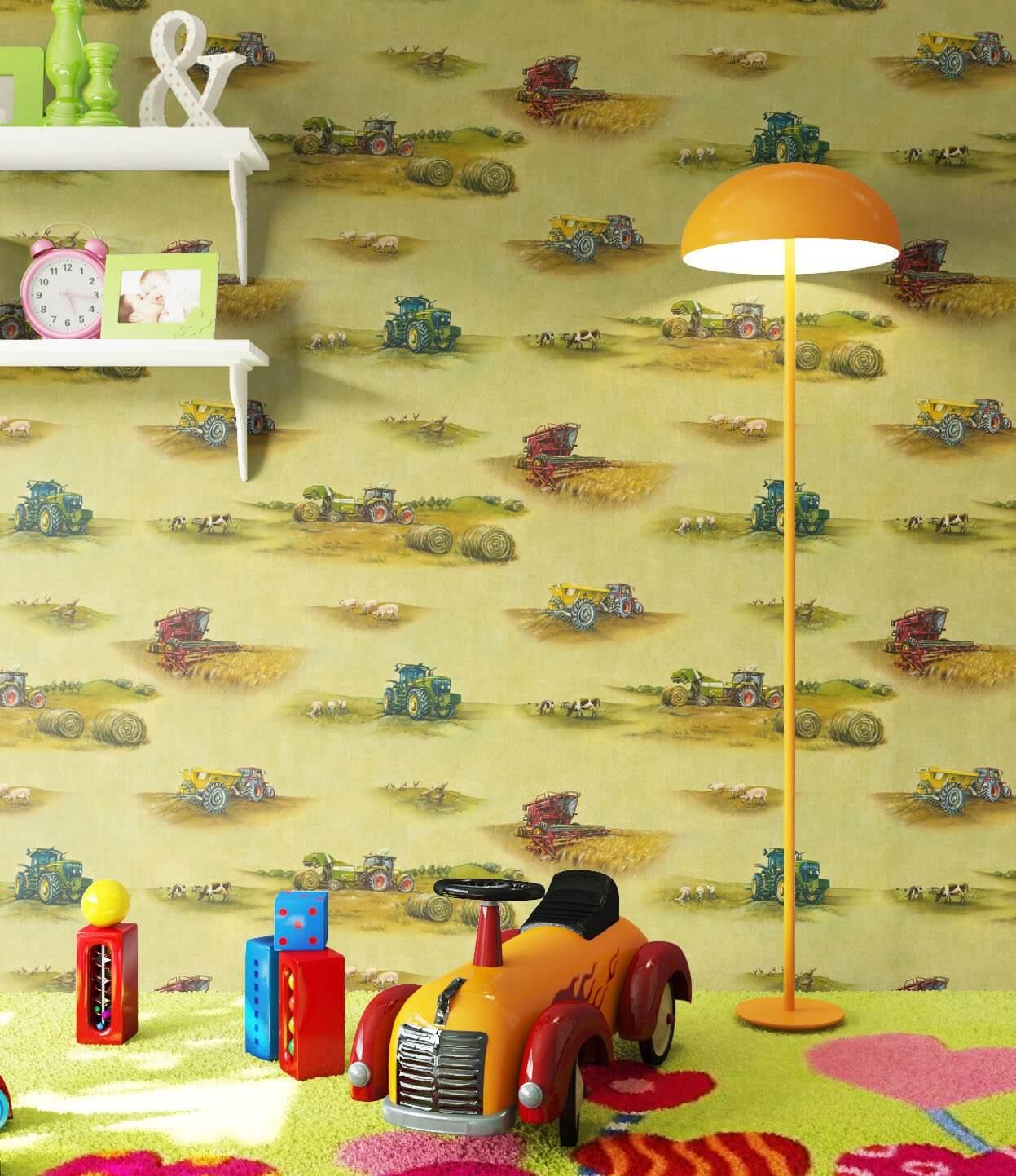 papiertapete gr n kinder landwirtschaft kinder. Black Bedroom Furniture Sets. Home Design Ideas