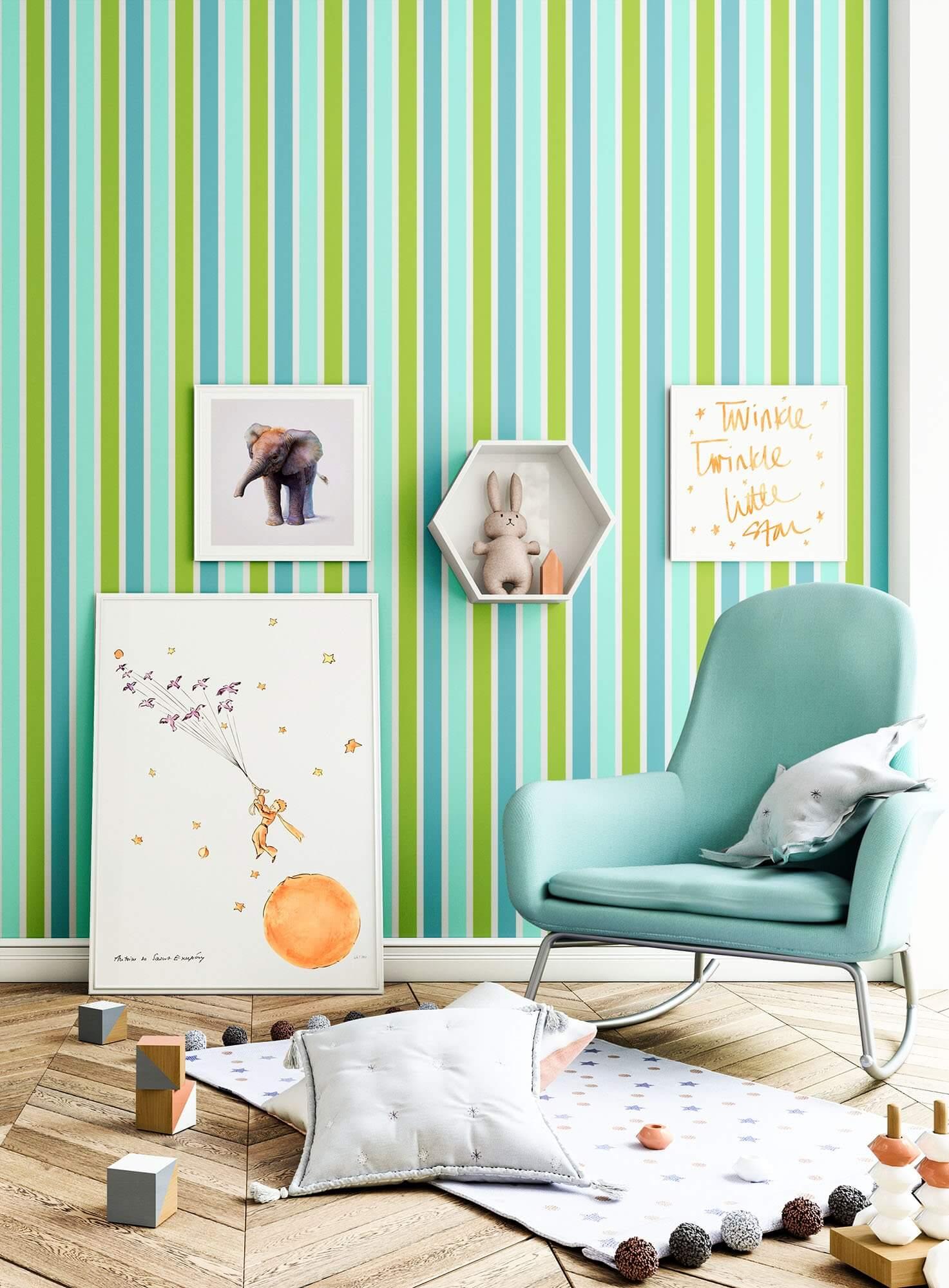 Vliestapete - Grün - Kinder - - Streifen - Kinderzimmer - newroom