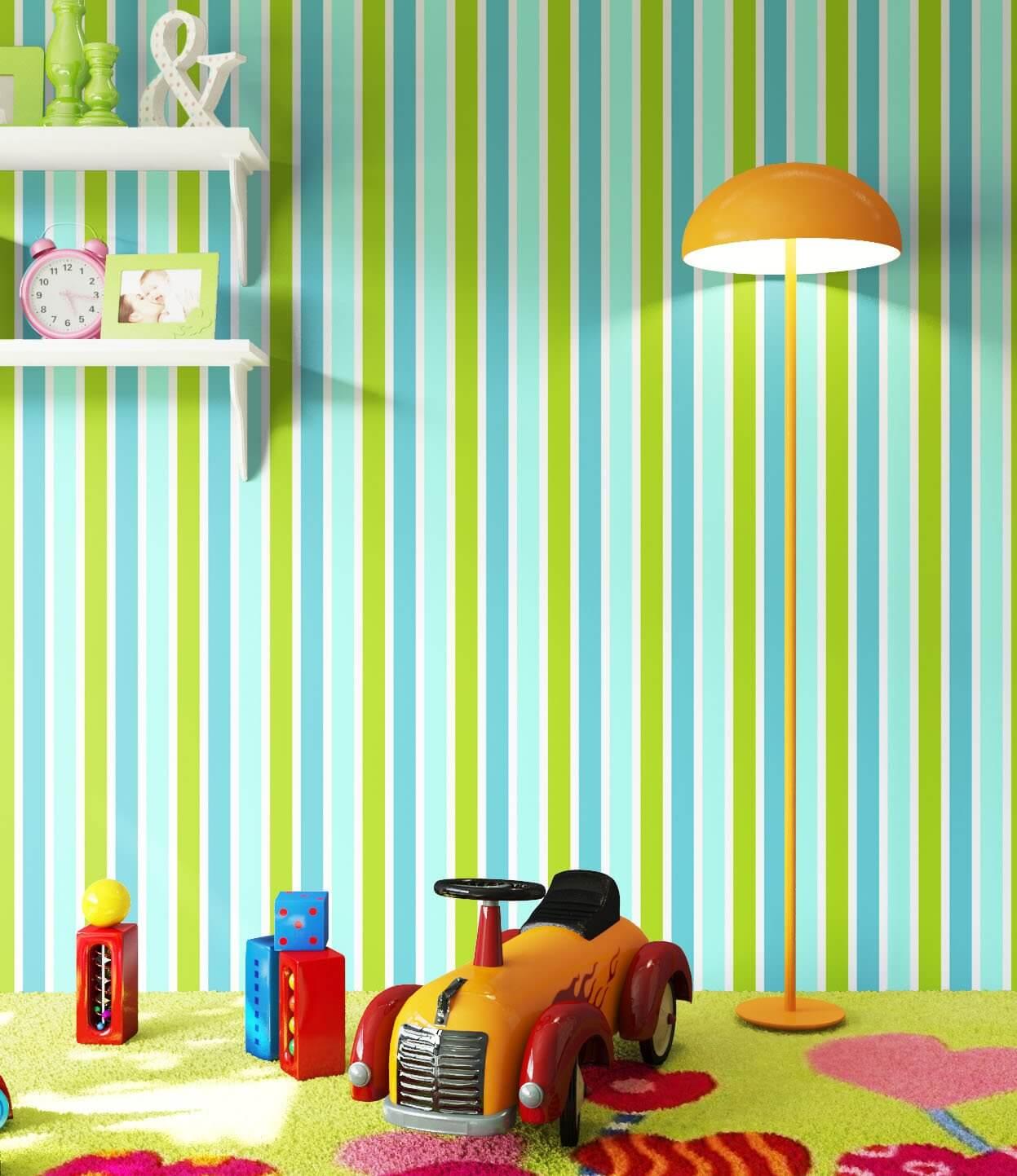 vliestapete gr n kinder streifen kinderzimmer. Black Bedroom Furniture Sets. Home Design Ideas