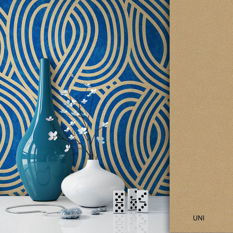 Vliestapete gold moderne muster muster newroom for Mustertapete blau