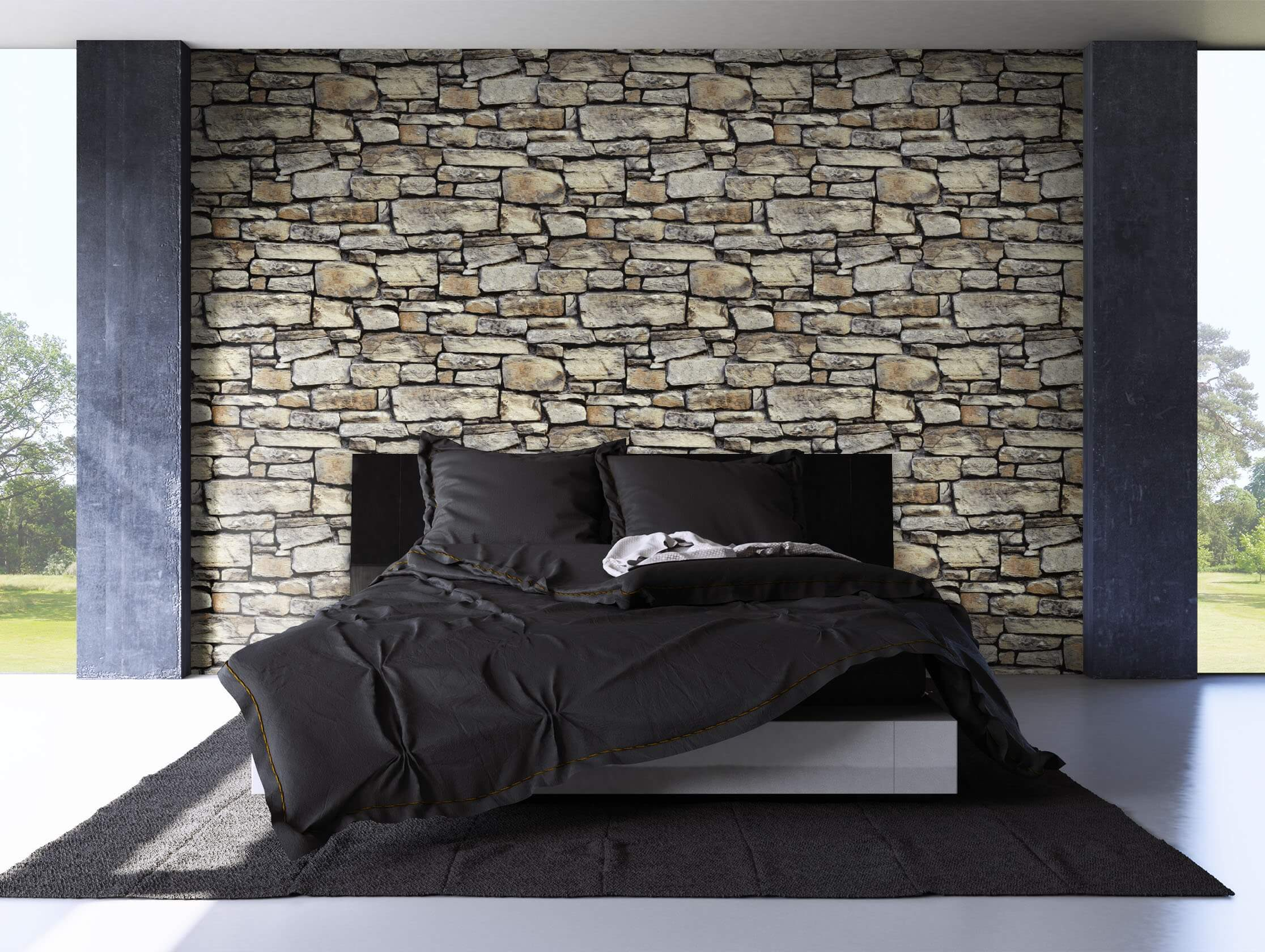 papiertapete grau modern mauer stein newroom. Black Bedroom Furniture Sets. Home Design Ideas