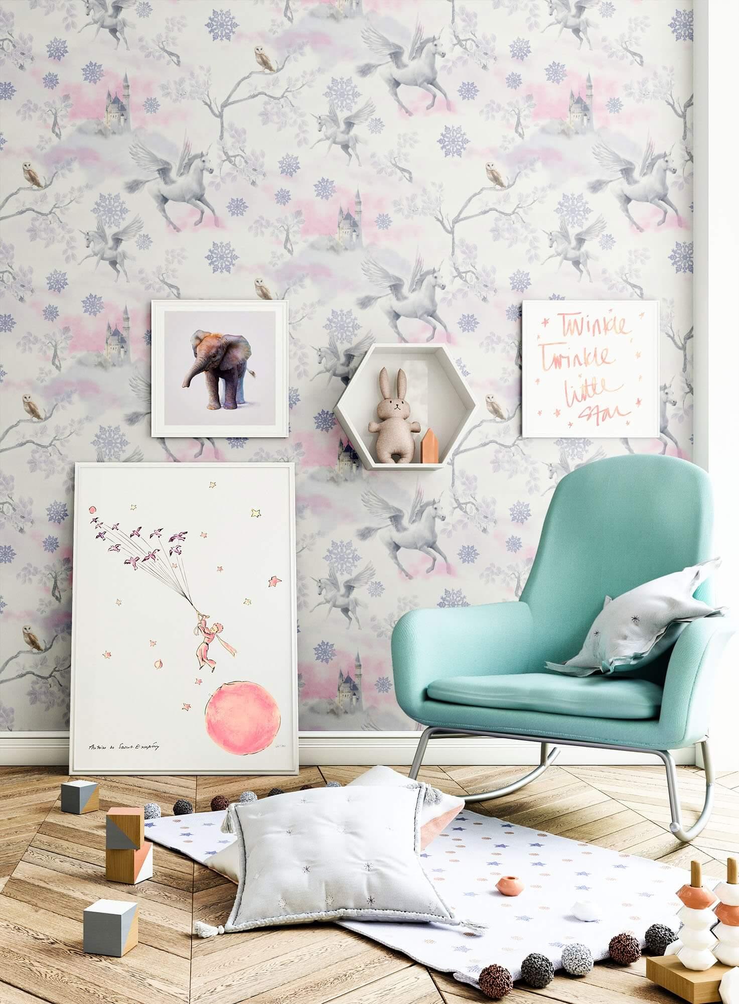 Papiertapete rosa romantisch einhorn glanz newroom for Zimmer deko einhorn