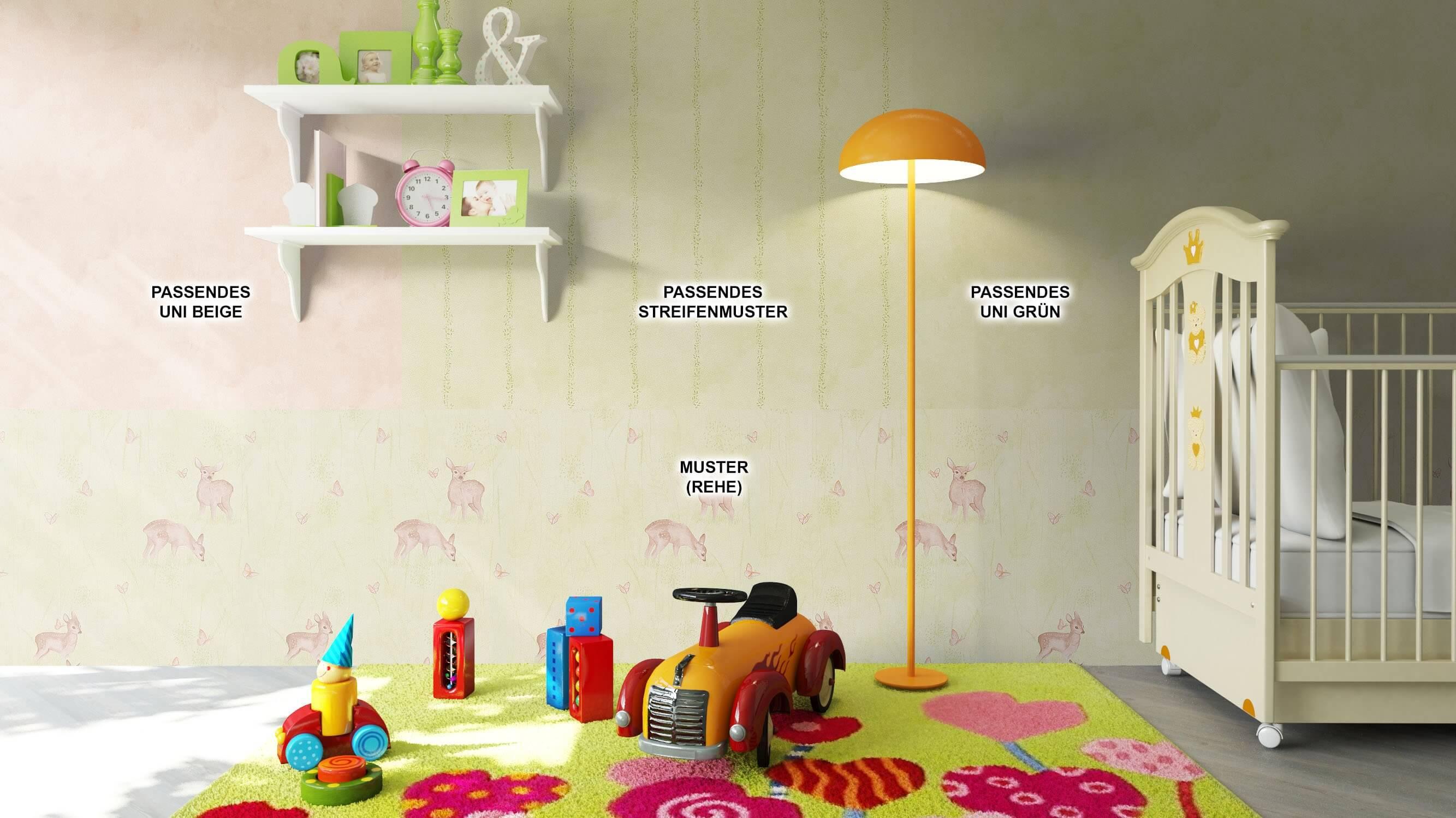 ... Tapete Kinder Kinderzimmer Grün Beige Braun Deko ...