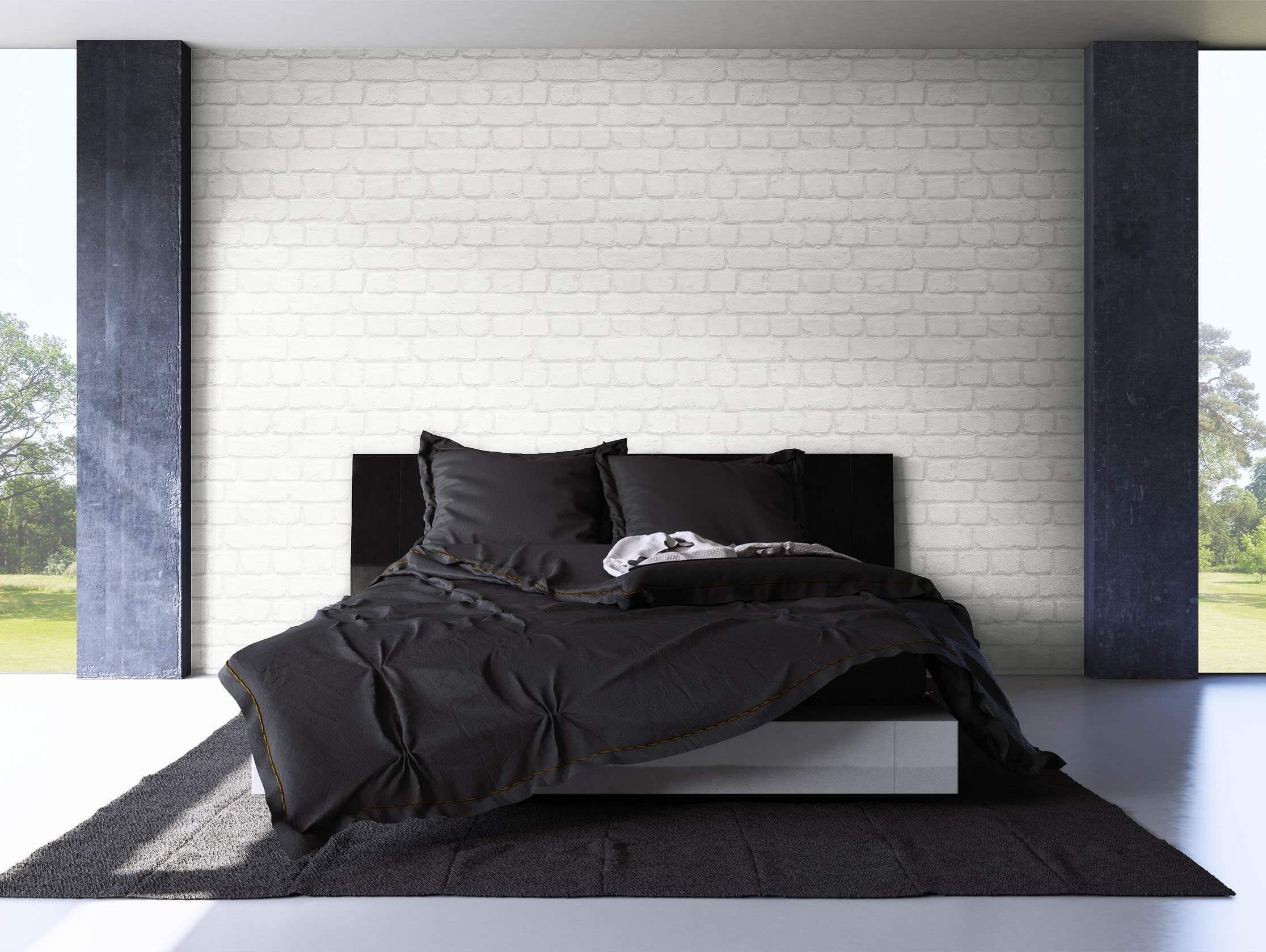 papiertapete wei modern mauer stein wohnen schlafen diele newroom. Black Bedroom Furniture Sets. Home Design Ideas
