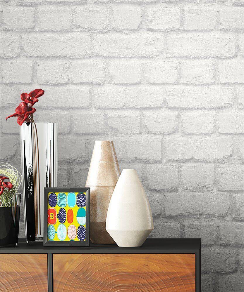 Papiertapete Weiß Modern Mauer Stein Wohnen Schlafen Diele