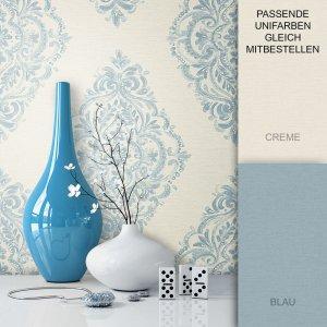 Tapete Barock Vlies Blau Vase
