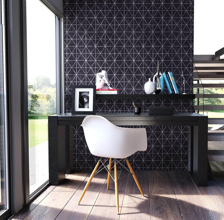 vliestapete schwarz grafik dreiecke geometrisch b ro diele flur k che schlafen. Black Bedroom Furniture Sets. Home Design Ideas