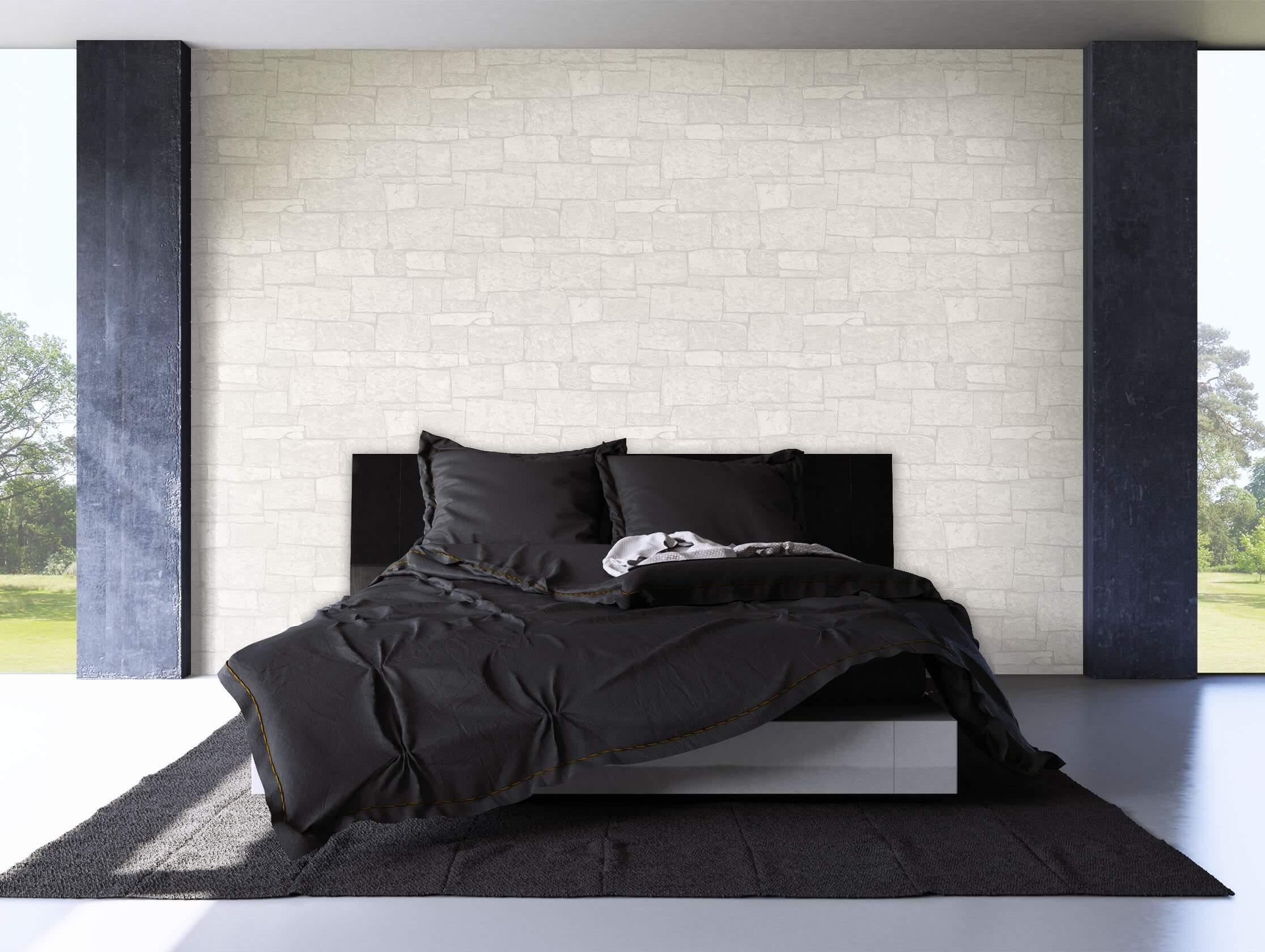 steintapete weiss, vliestapete - creme - modern - - mauer - stein bad, büro, diele/flur, Design ideen