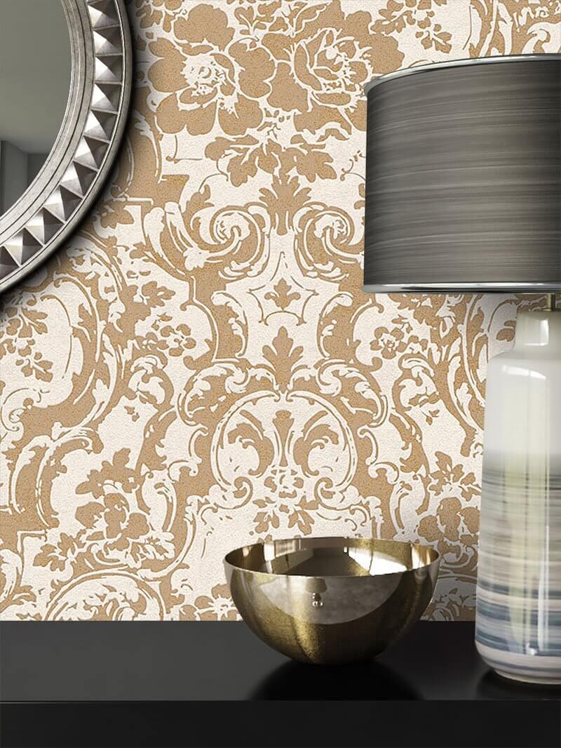 vliestapete beige barock ornament blumen diele. Black Bedroom Furniture Sets. Home Design Ideas