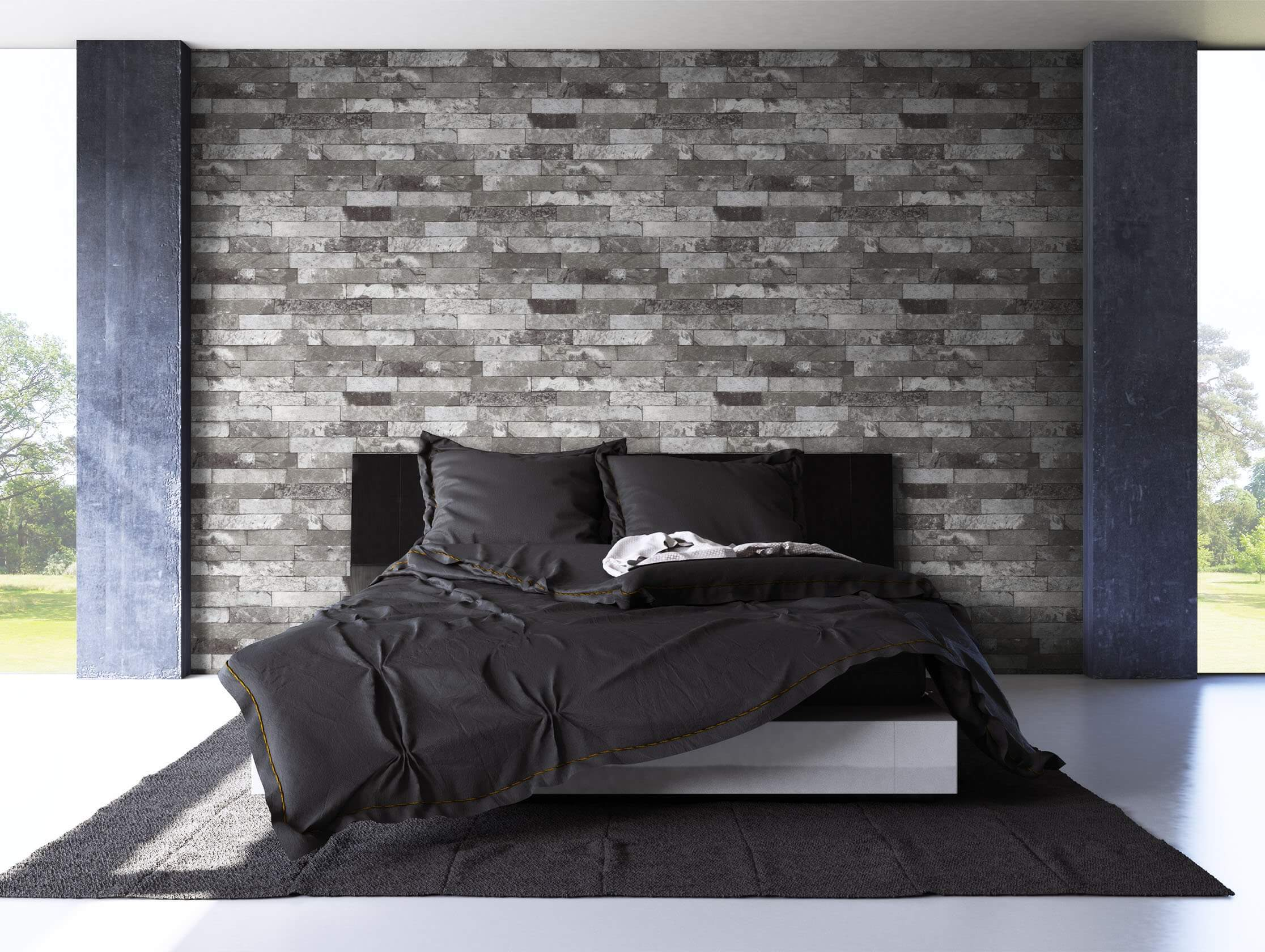 vliestapete anthrazit modern mauer stein wohnen schlafen diele newroom. Black Bedroom Furniture Sets. Home Design Ideas