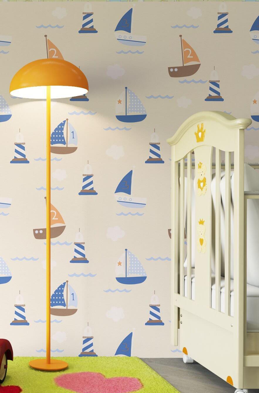 papiertapete beige kinder schiffe meer kinder. Black Bedroom Furniture Sets. Home Design Ideas