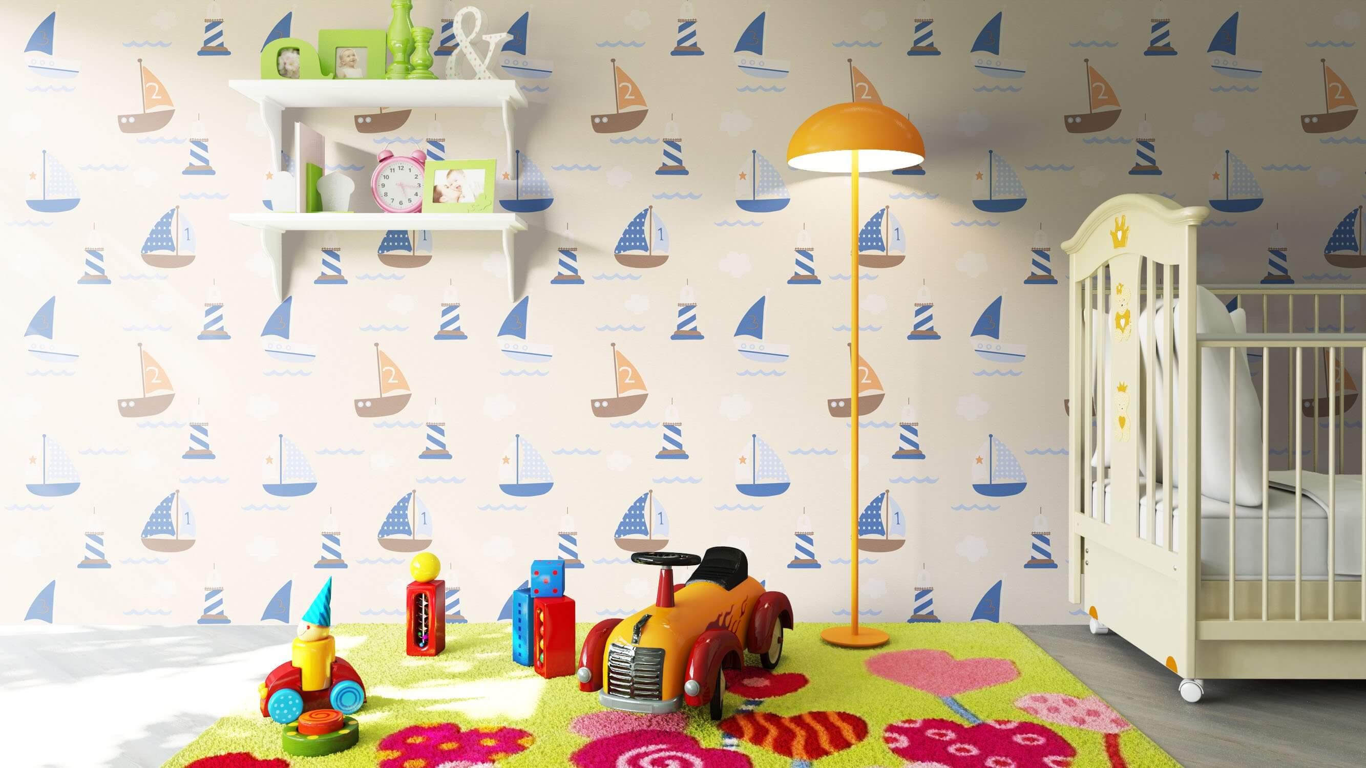 Papiertapete - Beige - Kinder - - Schiffe - Meer Kinder - newroom