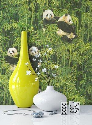 Tapete Grün Natur Bambus Panda Deko