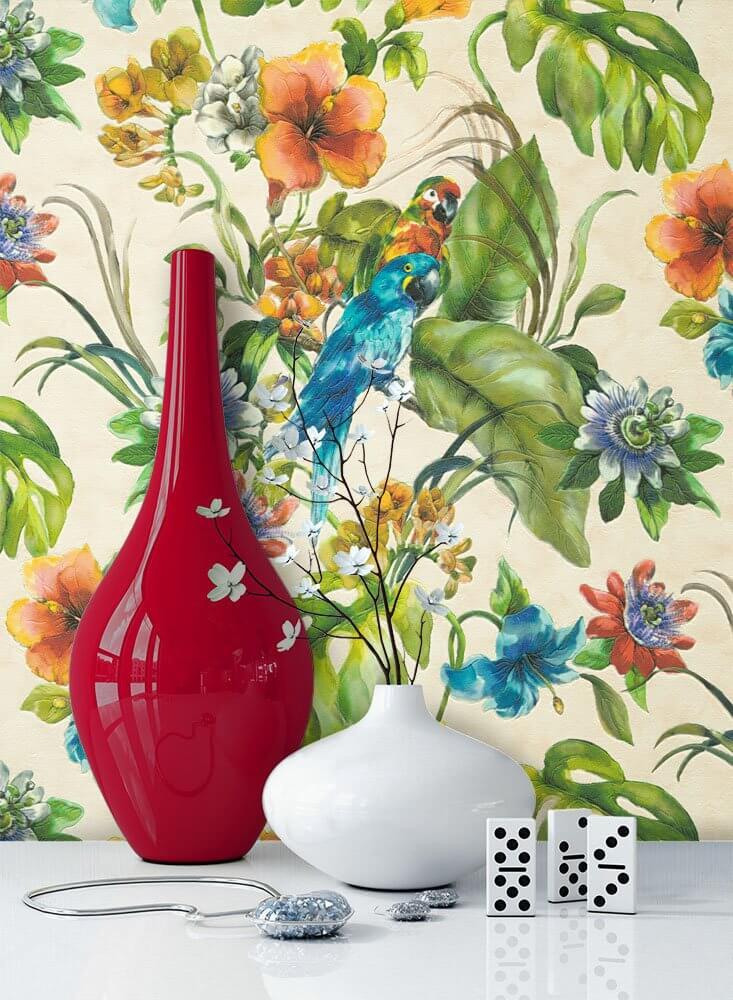 papiertapete bunt floral blumen bl tter bad diele flur k che schlafen wohnen newroom. Black Bedroom Furniture Sets. Home Design Ideas