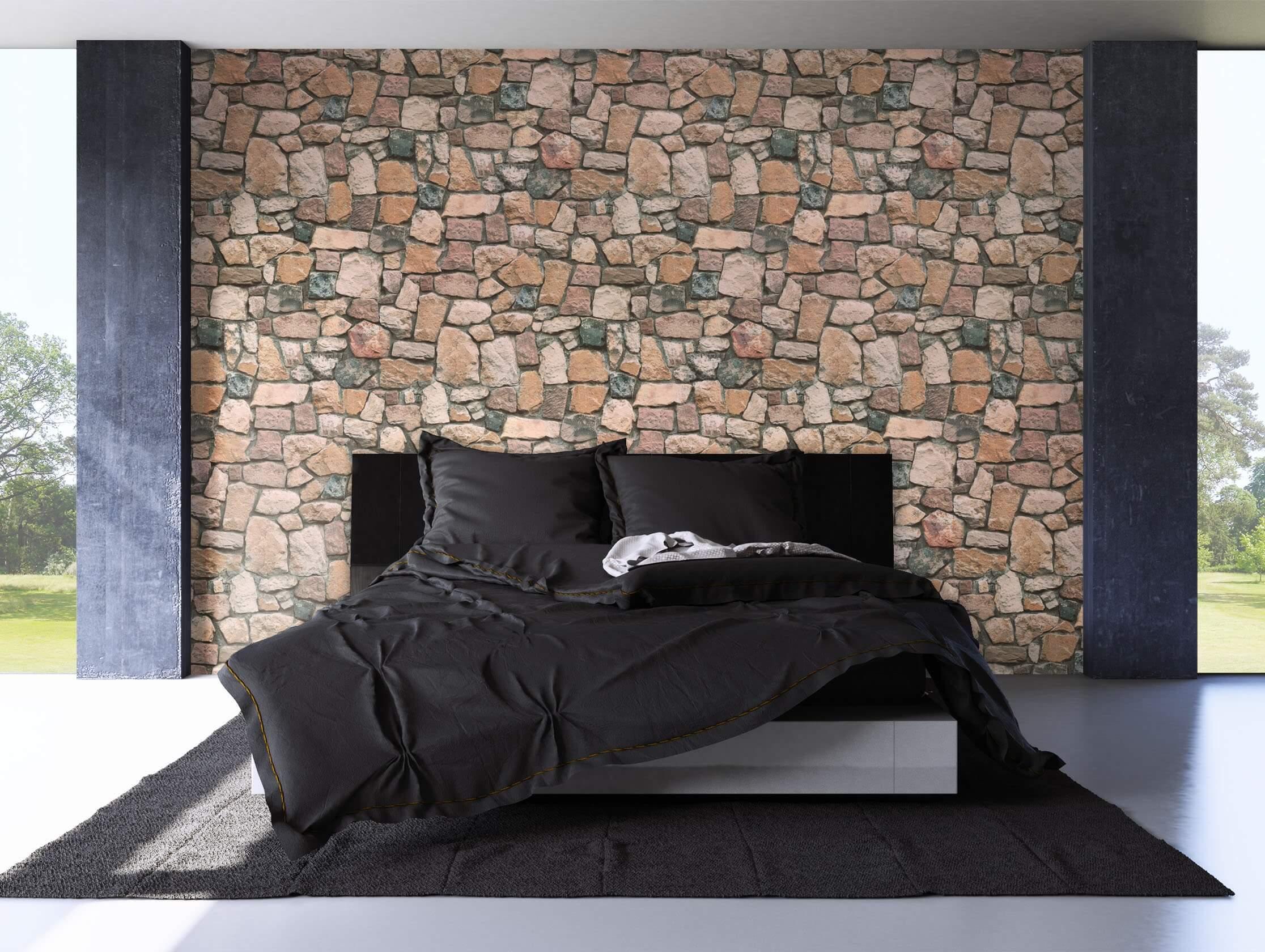 papiertapete beige modern mauer stein diele flur wohnen newroom. Black Bedroom Furniture Sets. Home Design Ideas