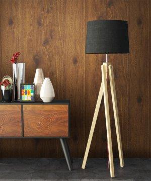 Holztapete Braun Stehlampe