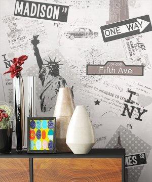 Tapete Stadt New York Dekoration Schwarz Weiß