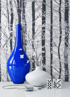 Tapete Grau Silber Birken Wald Frost Vase