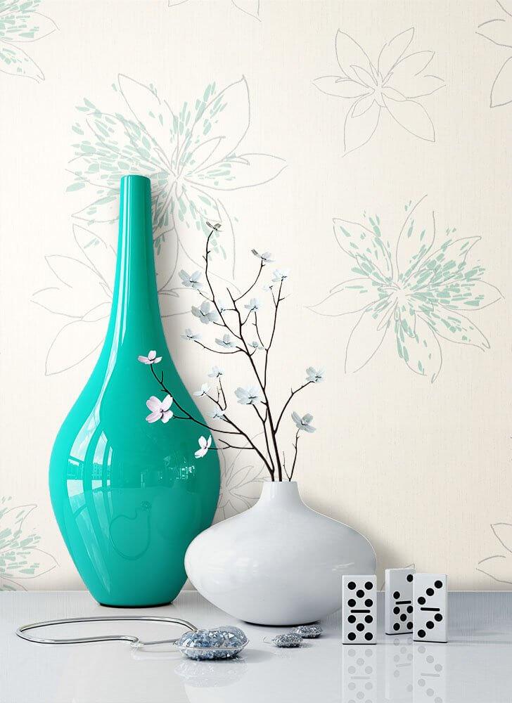 Vliestapete Blau Floral Diele Flur Schlafen Wohnen Newroom