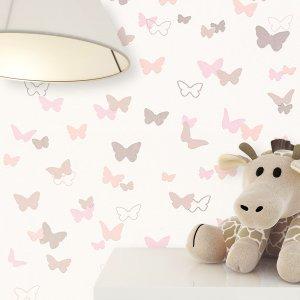 Kindertapete Creme Rosa Braun Schmetterlinge Deko