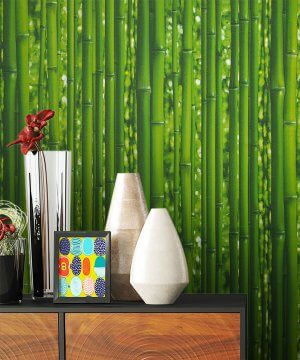 Tapete Grün Bambus Deko