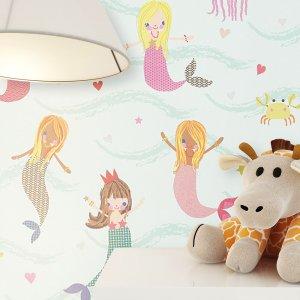 Tapete Kinder Kinderzimmer Meerjungfrau Deko