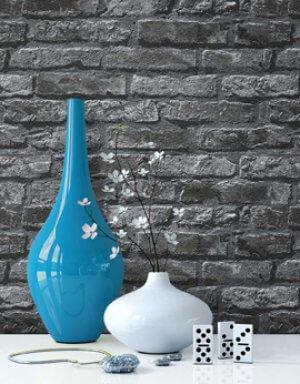 Tapete Schwarz Steintapete Vase