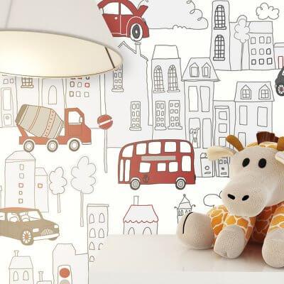 Kinderzimmer Autos Tapete Deko