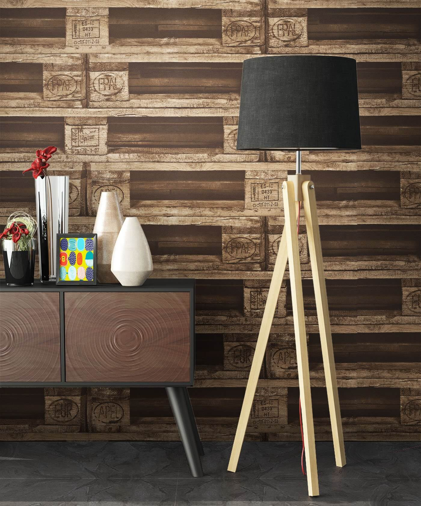 vliestapete braun landhaus europalette paletten wohnen schlafen k che diele newroom. Black Bedroom Furniture Sets. Home Design Ideas