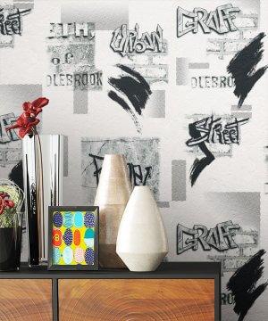 Tapete Graffiti Dekoration Schwarz Weiß