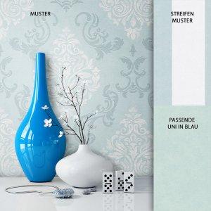 Tapete Vlies Blau Barock Muster Dekoration