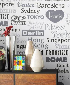 Tapete Dekoration Schwarz Weiß Bunt Städte Paris NY