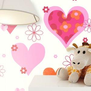 Kindertapete Herzen Floral Muster Deko