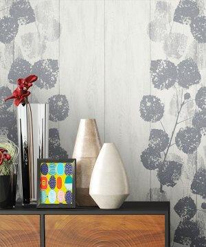Tapete Vlies Grau Holz Blumen Muster Dekoration