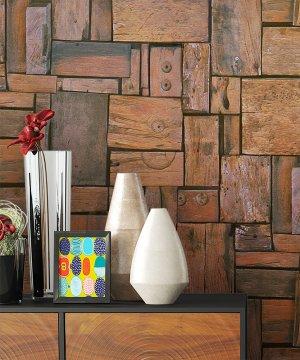 Tapete Holz Quadrate Braun Dekoration