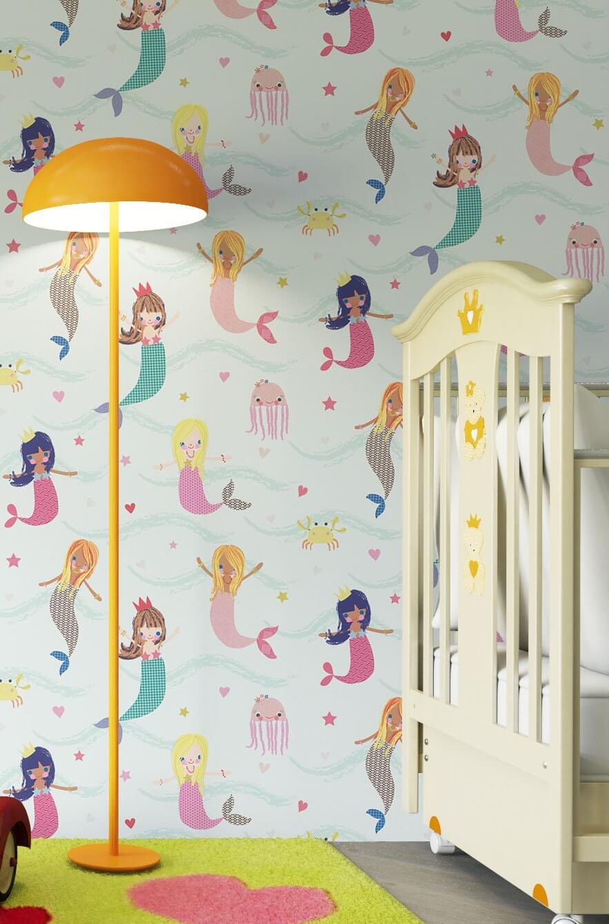 papiertapete blau kinder meerjungfrauen meer. Black Bedroom Furniture Sets. Home Design Ideas