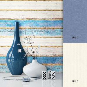 Holztapete Blau Beige