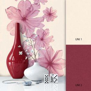Blumentapete Beige Rot
