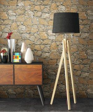 Vliestapete Stein Mauer Beige Stehlampe