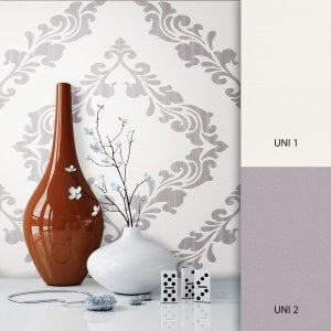 Barocktapete weiß lila