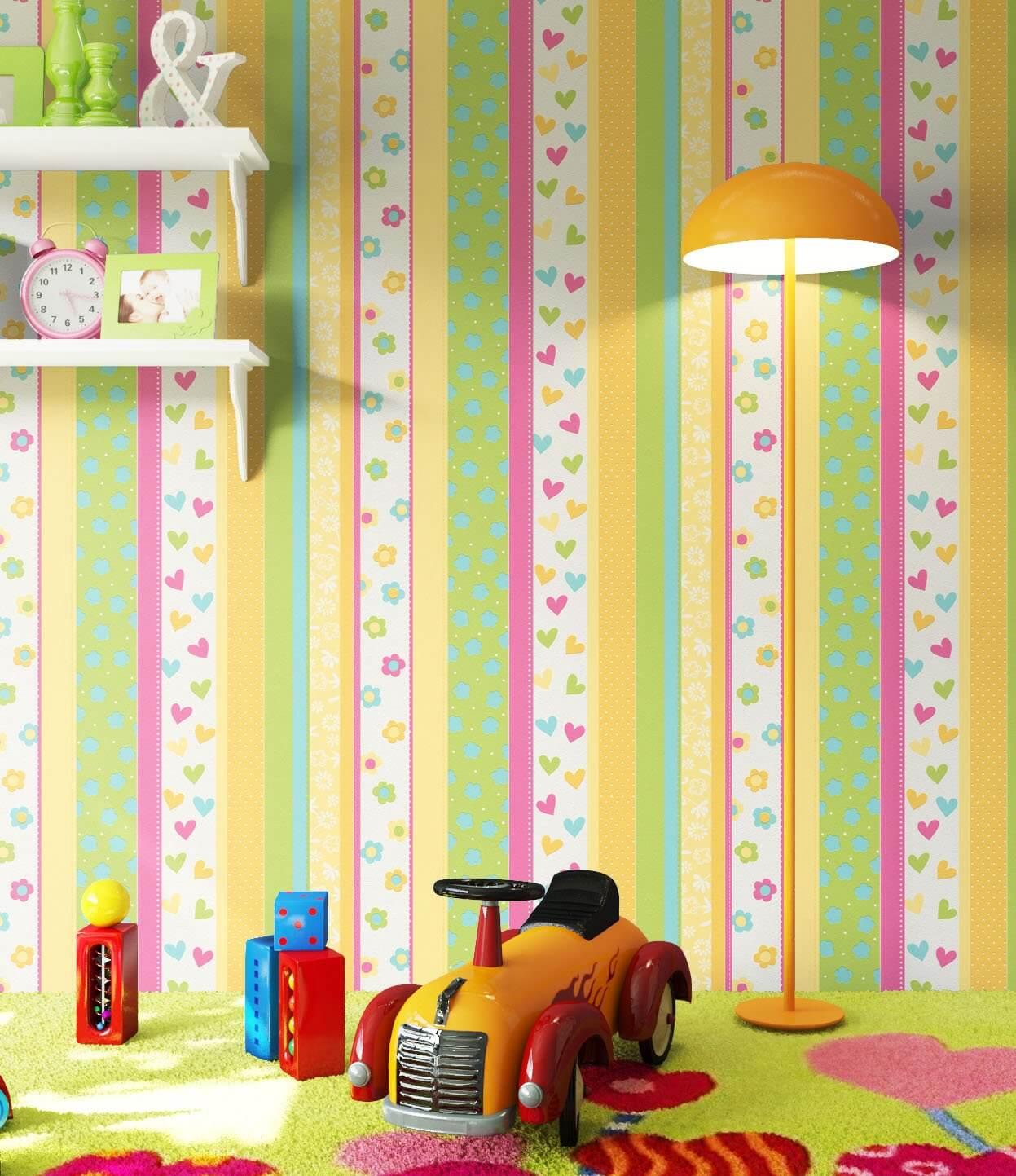 NEWROOM Kindertapete Vliestapete Beige   Streifen Gelb  Kinderzimmer Vlies