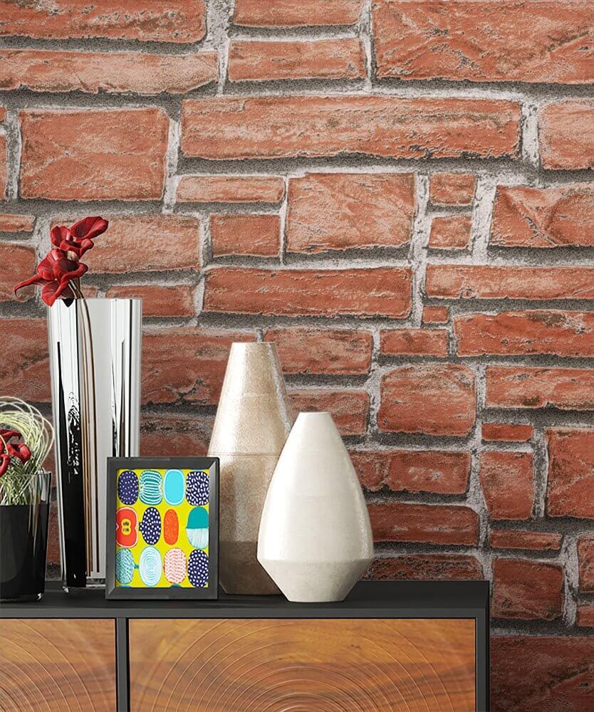 Papiertapete Braun Modern Mauer Stein Bad Kuche Newroom