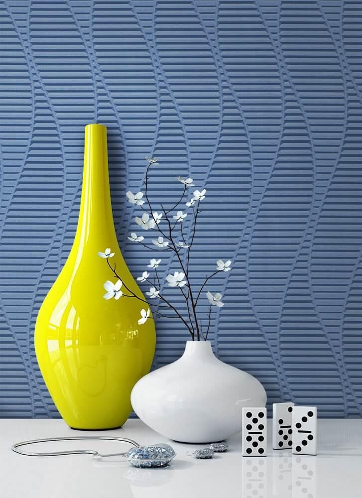 vliestapete blau grafik geometrisch linien b ro diele flur k che schlafen wohnen. Black Bedroom Furniture Sets. Home Design Ideas