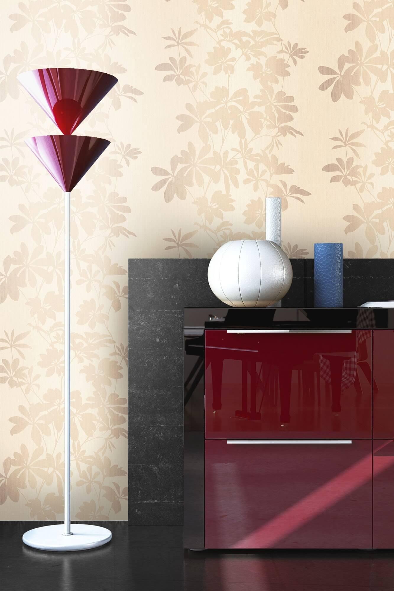 vliestapete beige floral diele flur schlafen. Black Bedroom Furniture Sets. Home Design Ideas