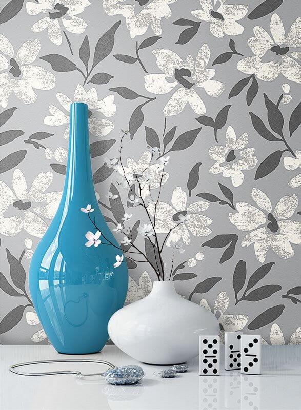Favorit Vliestapete - Grau - Floral - - Blumen - Blätter Diele/Flur VF35