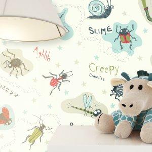 Kindertapete Insekten Blau Bunt Deko