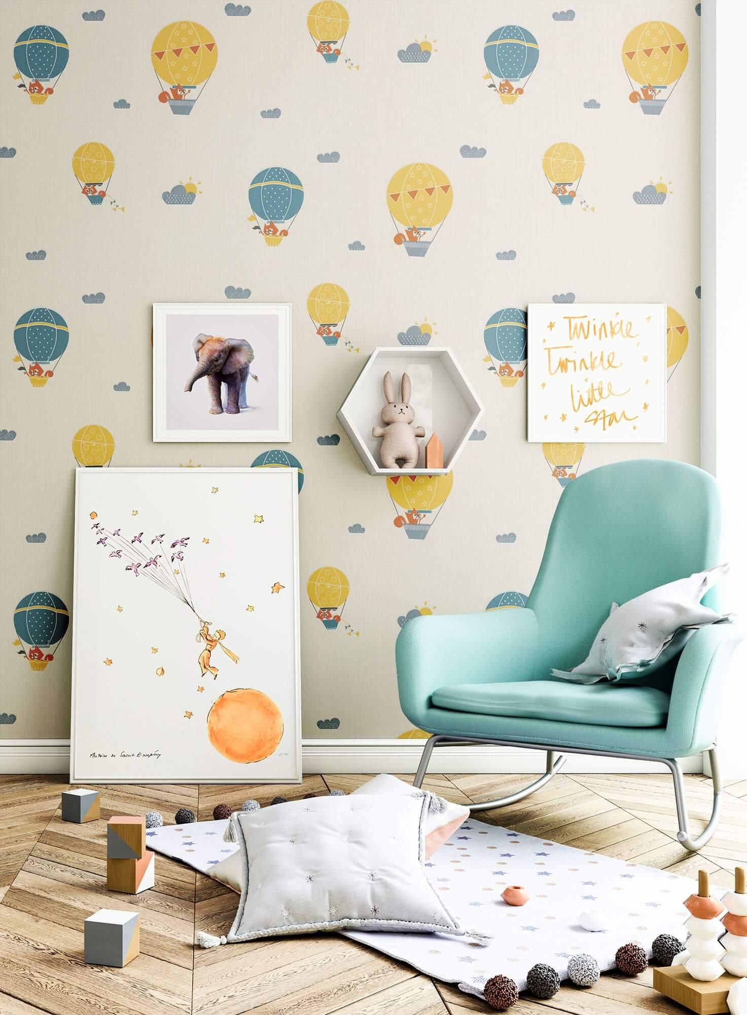 NEWROOM Kindertapete Vliestapete Creme Heißluftballon  Natur Blau  Kinderzimmer