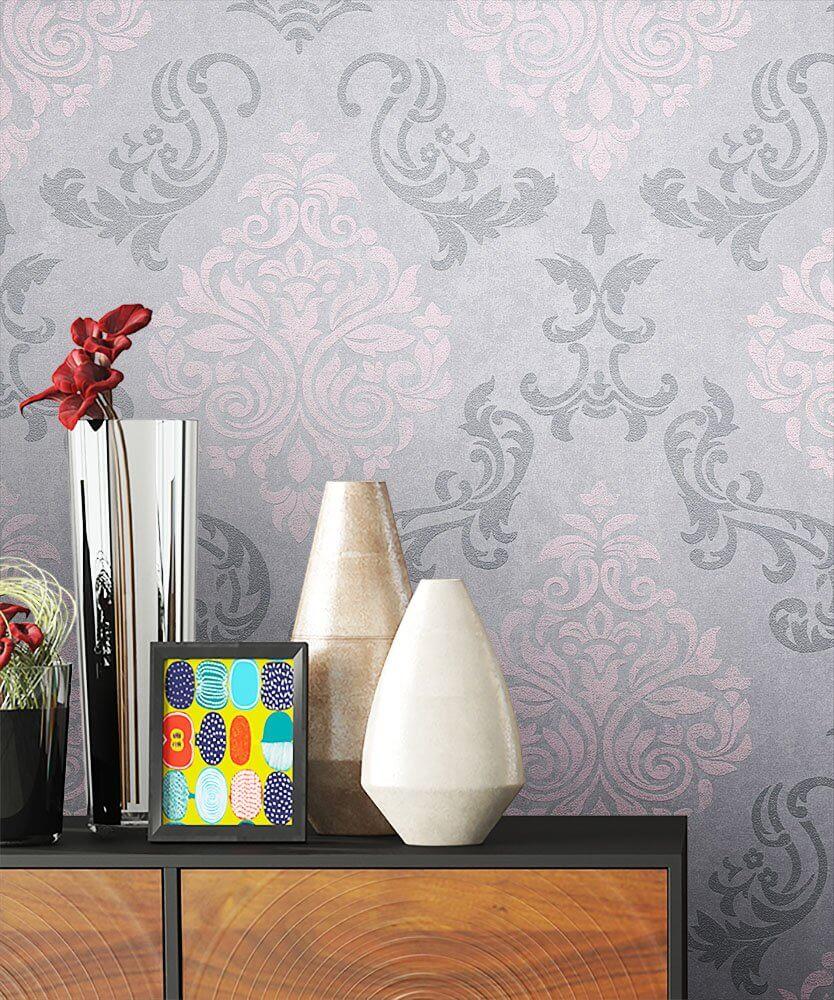 Favorit Vliestapete - Grau - Barock - - Ornament - Büro, Diele/Flur MU12