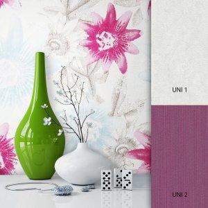 Blumentapete Weiß Lila