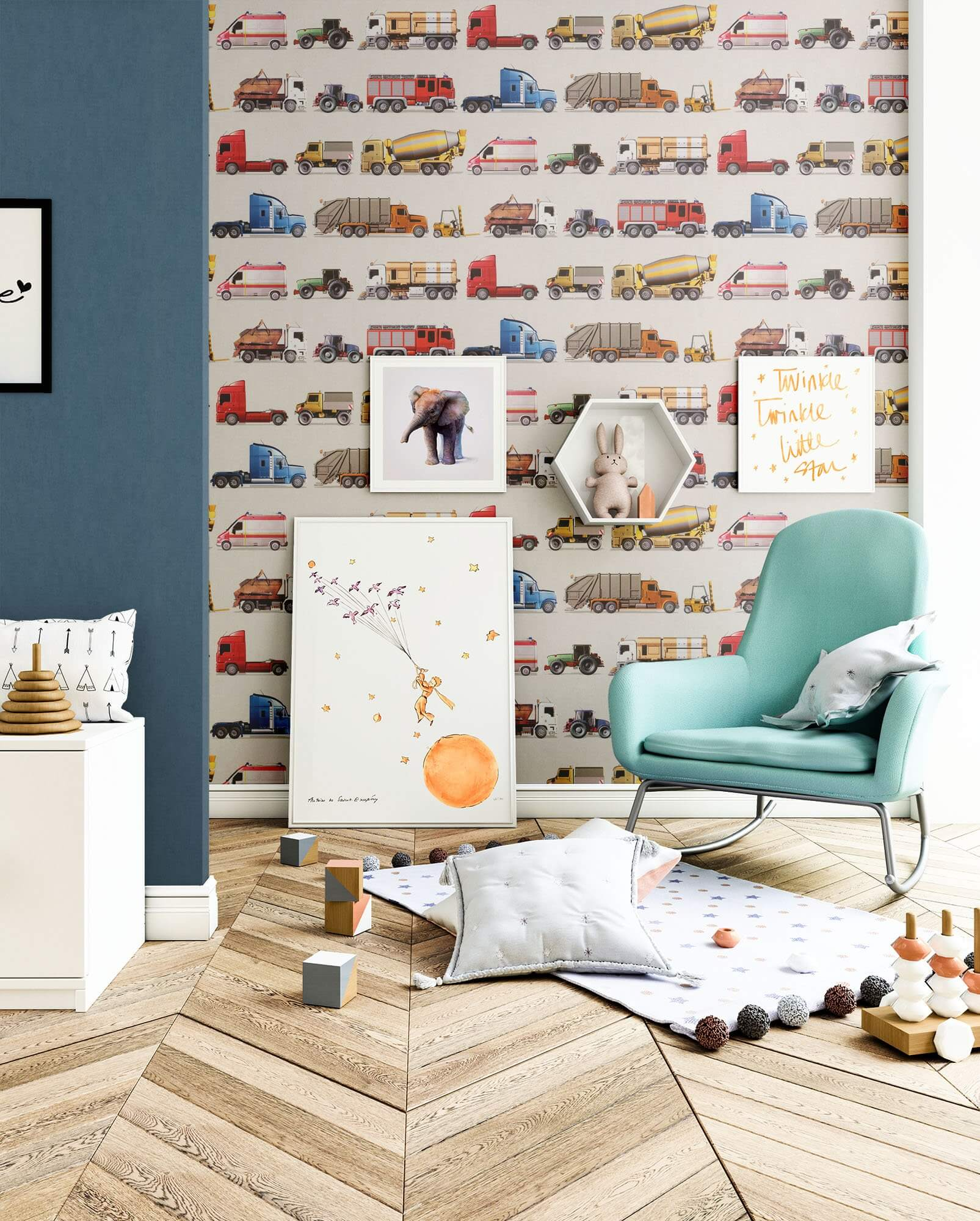 Papiertapete - Braun - Kinder - - Auto - Kinder - newroom